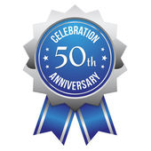 Blue silver 50th year anniversary badge — Stock Vector