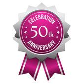 Purple silver 50th year anniversary badge — Stock Vector
