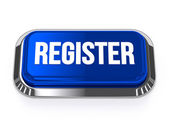 Blue silver register button with metallic border — Stock Photo