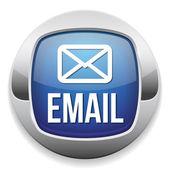 Botão de e-mail de prata azul com borda metálica — Vetor de Stock
