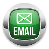Green silver e-mail button with metallic border — Stock Vector