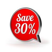 Red round save 30 percent speech bubble — Stock Photo