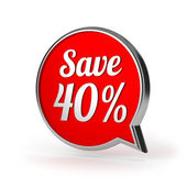 Red round save 40 percent speech bubble — Stock Photo