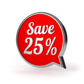 Red round save twenty-five percent speech bubble — Stock Photo