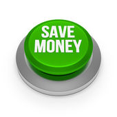 Green metallic save money button — Stock Photo