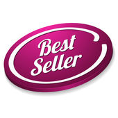 Purple oval best seller button — Stock Vector