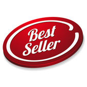Red oval best seller button — Stock Vector