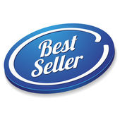 Blue oval best seller button — Stock Vector