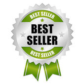 Green silver best seller badge with ribbon — 图库矢量图片