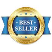 Gold blue best seller badge — 图库矢量图片