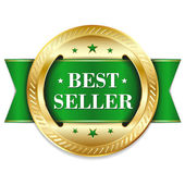Gold green best seller badge — Stockvector