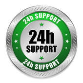 Green 24 hour support button — Stock Vector