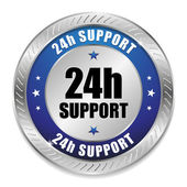 Blue 24 hour support button — Stock Vector