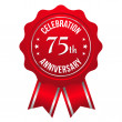 Stock Vector: Seventy-five year anniversary badge