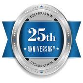 Twenty-five year anniversary badge — 图库矢量图片