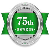 Seventy-five year anniversary badge — Stock Vector