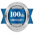 Blue 100 year anniversary badge — ストックベクタ #38751233