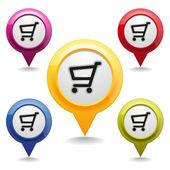 Shopping map buttons — Stock Vector