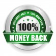 Hundred percent money back badge — Stock Vector
