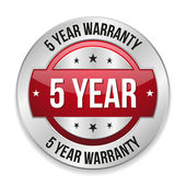 Five year warranty button — Stock Vector