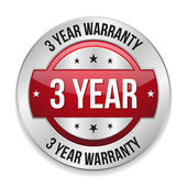 Three year warranty button — Stock Vector