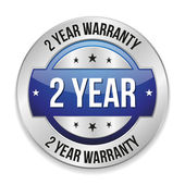 Blue two year warranty button — Stock Vector