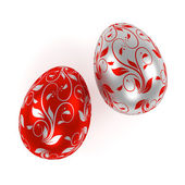 Silver and red  easter eggs — Stock Photo