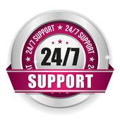 Twenty for seven support badge — Stock Vector