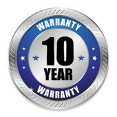Blue ten year warranty button — ストックベクタ