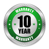 Green ten year warranty button — ストックベクタ