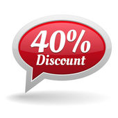 Forty percent discount speech bubble — Vettoriale Stock