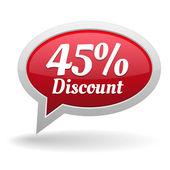 Forty-five percent discount speech bubble — Vettoriale Stock