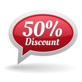 Fifty percent discount speech bubble — Vettoriale Stock
