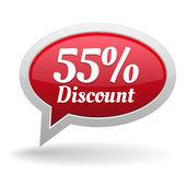 Fifty-five percent discount speech bubble — Vettoriale Stock