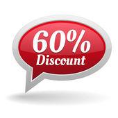 Sixty percent discount speech bubble — Vettoriale Stock