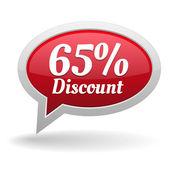 Sixty-five percent discount speech bubble — Vettoriale Stock