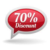 Seventy percent discount speech bubble — Vettoriale Stock