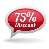 Seventy-five percent discount speech bubble — Vettoriale Stock