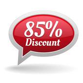 Eighty-five percent discount speech bubble — Vettoriale Stock