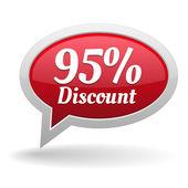 Ninety-five percent discount speech bubble — Vettoriale Stock