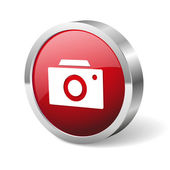 Red round camera button — Stockvektor