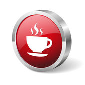 Red round coffee button — Stock Vector