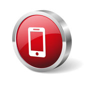 Red round phone button — Stockvektor