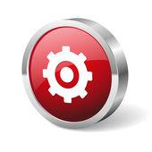 赤い丸い歯車ボタン — ストックベクタ