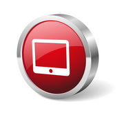 Red round tablet button — Stockvektor