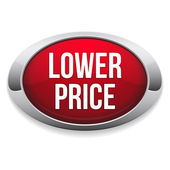 Red lower price button — Vector de stock