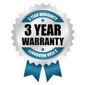 Silver blue 3 years warranty badge with ribbon — Stock Vector