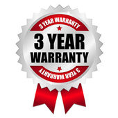 Silver red 3 years warranty  badge with ribbon — Stock Vector