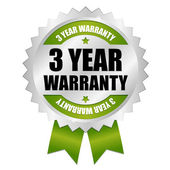 Silver green 3 years warranty badge with ribbon — Stock Vector