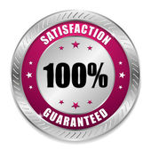 Satisfaction button with metallic border — Vector de stock